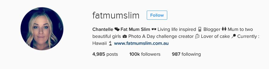 Fat Mum Slim Instagram Bio