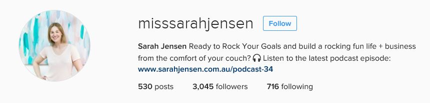 Sarah Jensen Instagram Bio