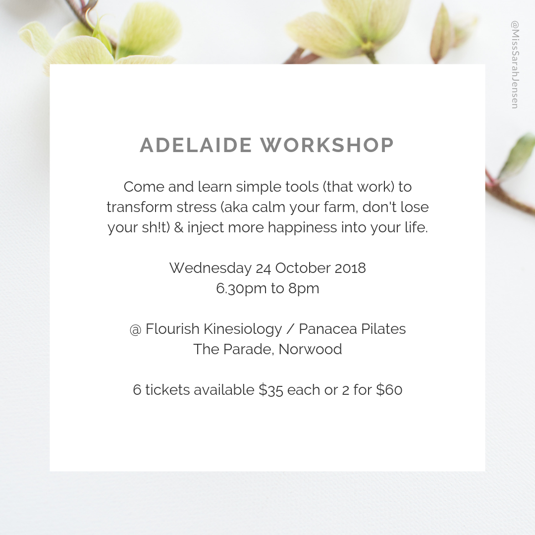 Adelaide workshop - reduce stress, boost happiness with Life Coach Sarah Jensen
