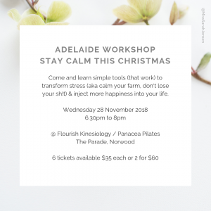 Stay Calm this Christmas - Adelaide Workshop with Sarah Jensen