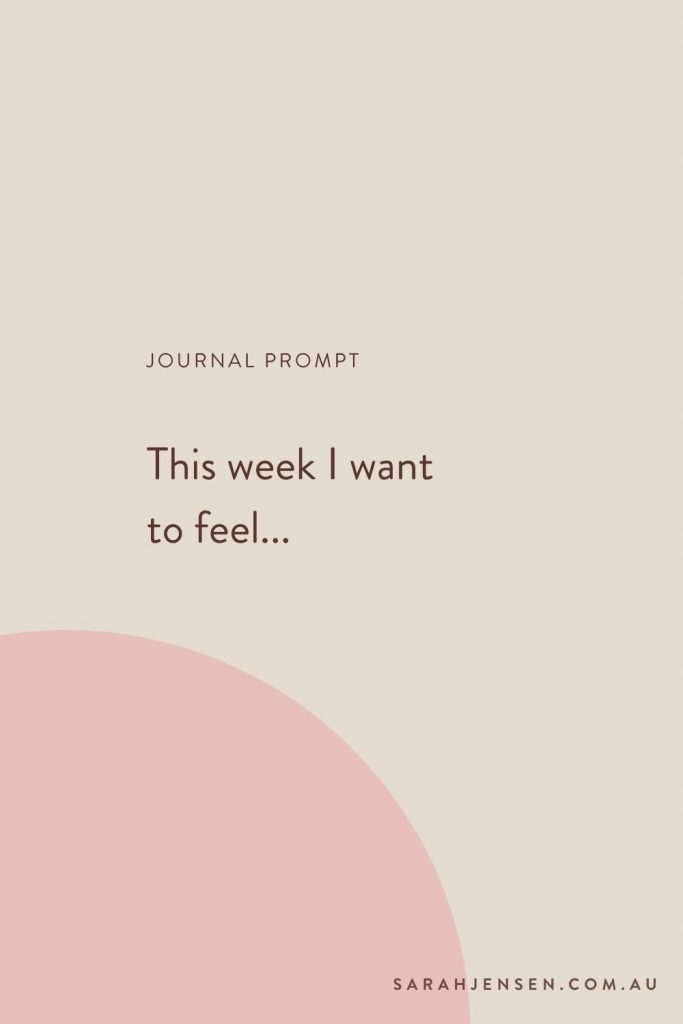 Journal prompt - This week I want to feel...