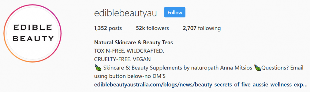 Edible Beauty Instagram Bio