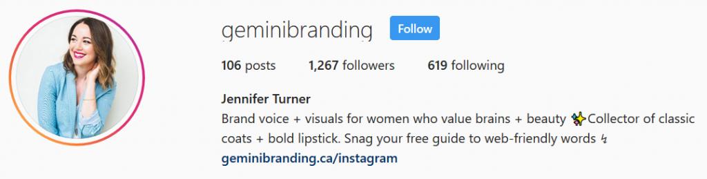 Gemini Branding - Instagram Bio
