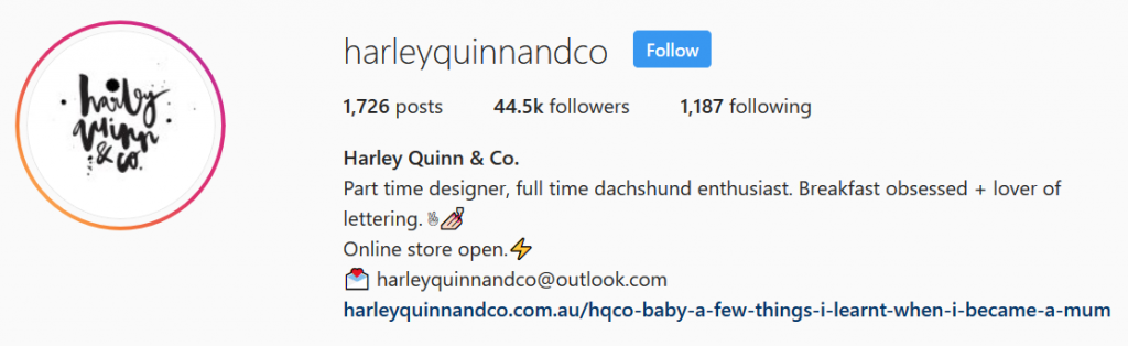 Harley Quinn & Co - Instagram Bio