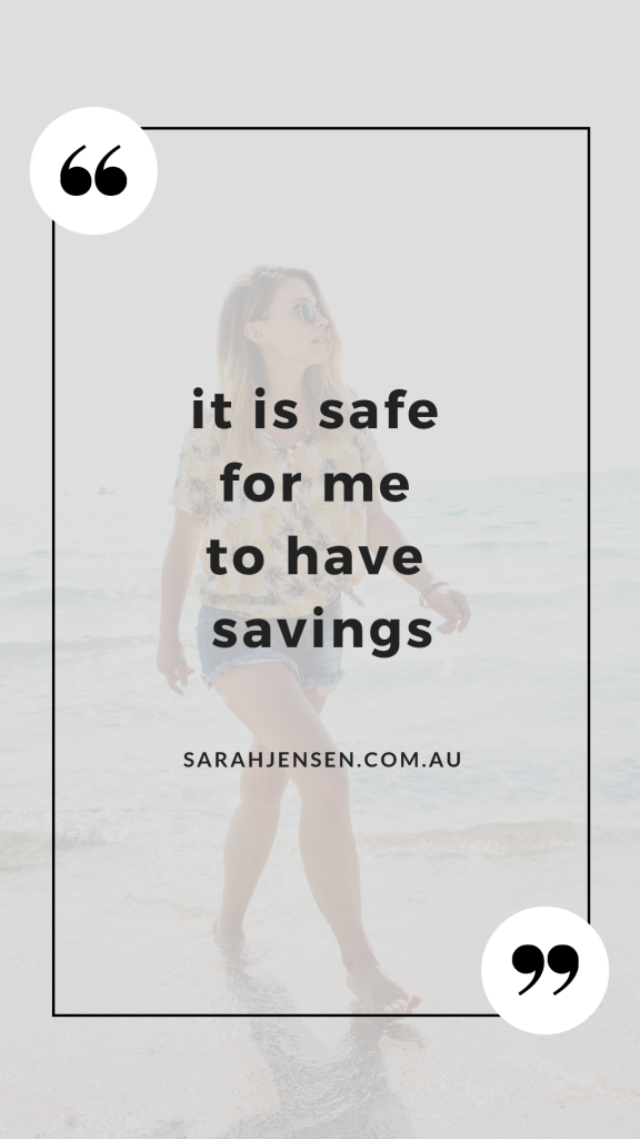 It is safe for me to have savings - Sarah Jensen