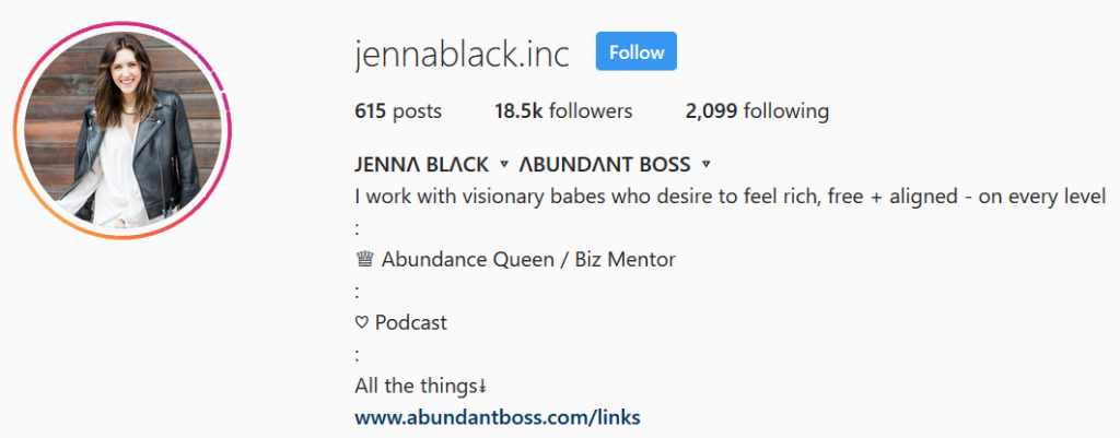 Jenna Black - Instagram Bio