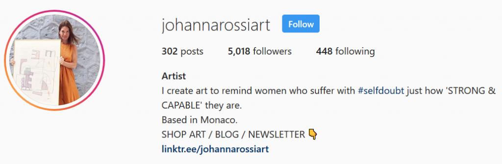 Johanna Rossi Art - Instagram Bio