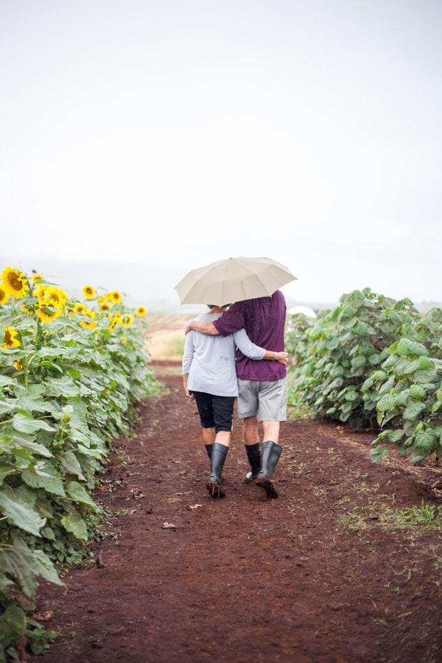 People hugging in flower field