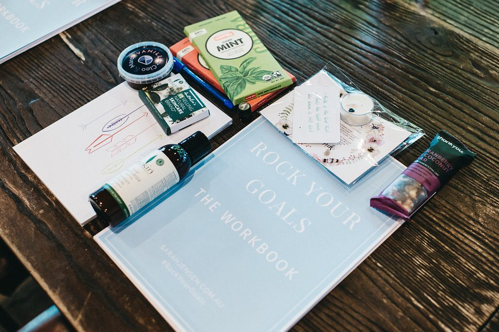 Guest gifts at Sarah Jensen's Rock Your Goals Canberra Workshop photographed by Lauren Campbell